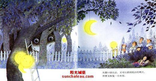 卡通池塘月亮图片